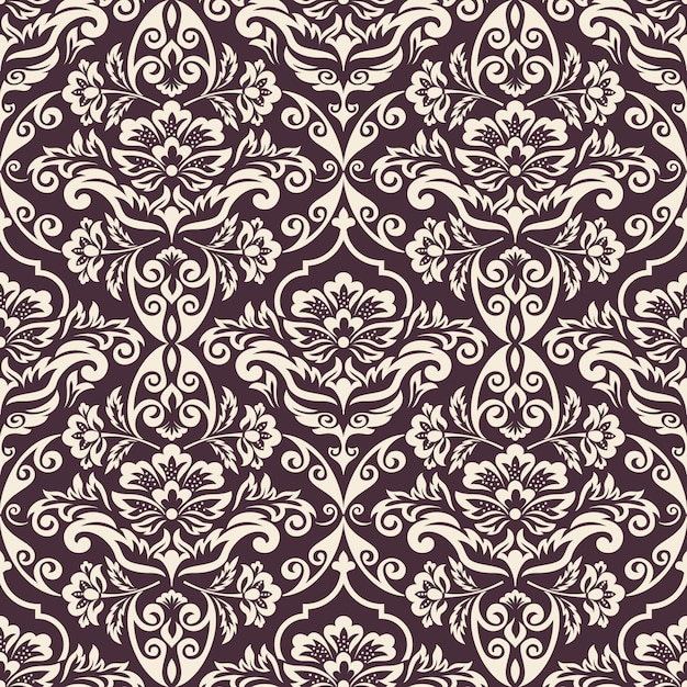 Damask seamless pattern background. classical luxury old fashioned damask ornament, royal victorian seamless texture for wallpapers, textile, wrapping. exquisite floral baroque template. Free Vector
