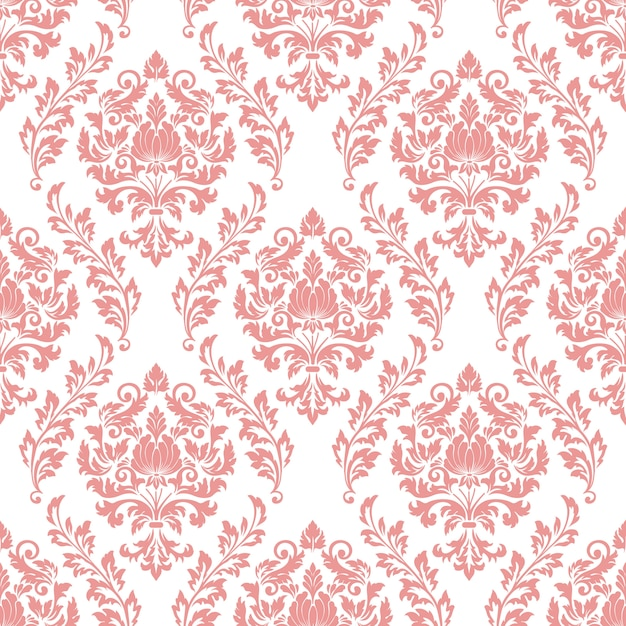 Damask seamless pattern background. classical luxury old fashioned damask ornament Free Vector