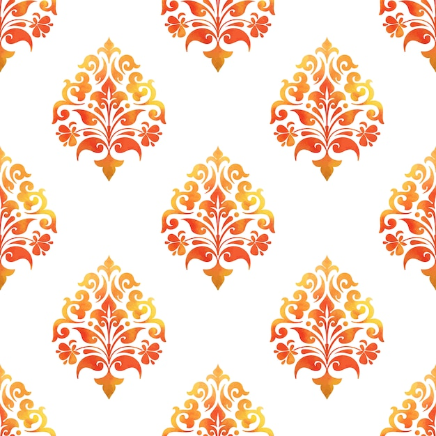 Damask seamless pattern background. elegant luxury texture for wallpapers Free Vector