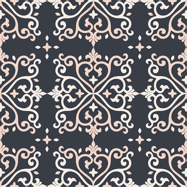 Damask seamless pattern background gold and black tile texture Premium Vector