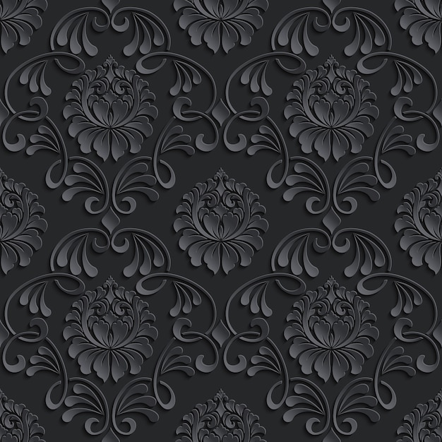 Damask seamless pattern background. Free Vector