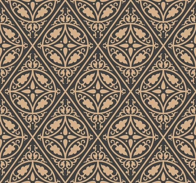 Damask seamless retro pattern background check round spiral curve cross leaf frame chain. Premium Vector