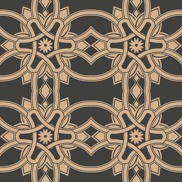 Damask seamless retro pattern background curve cross frame chain flower. Premium Vector