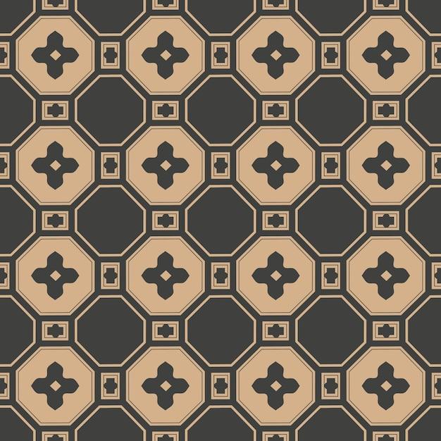 Damask seamless retro pattern background oriental polygon square cross frame flower chain. Premium Vector
