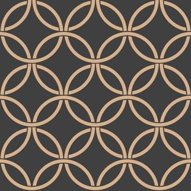 Damask seamless retro pattern background oriental round curve cross frame chain. Premium Vector