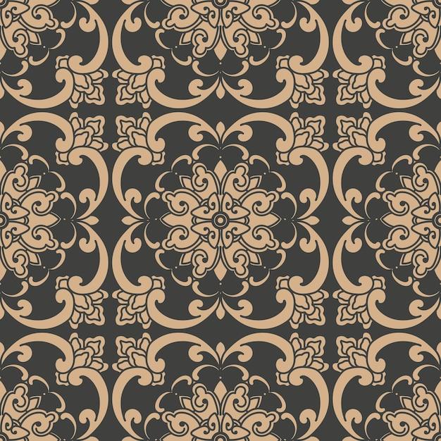 Damask seamless retro pattern background oriental round spiral curve cross frame vine leaf flower chain. Premium Vector