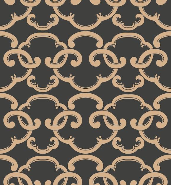 Damask seamless retro pattern background oriental spiral curve cross frame chain crest. Premium Vector