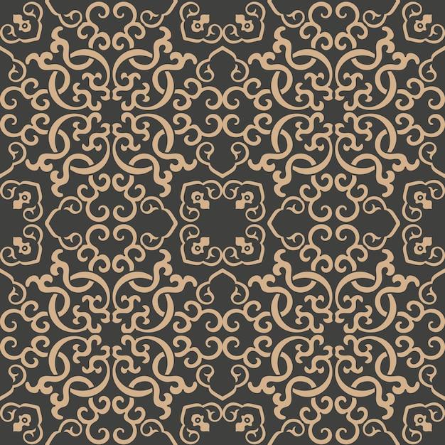 Damask seamless retro pattern background oriental spiral curve cross frame chain vine. Premium Vector