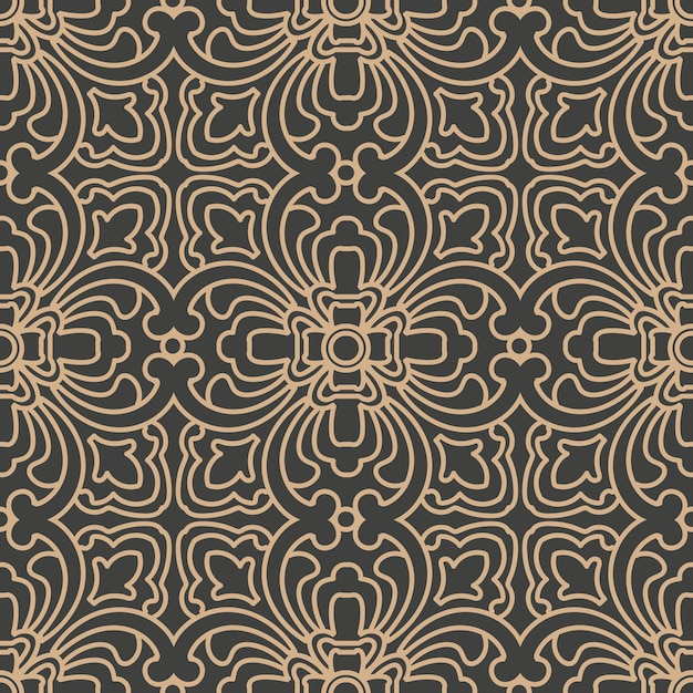 Damask seamless retro pattern background oriental spiral curve cross frame chain vine. Premium Vector