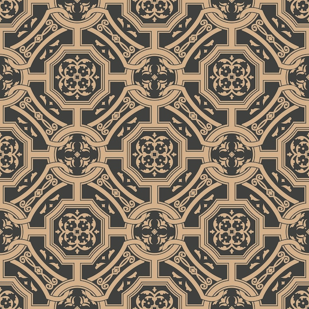 Damask seamless retro pattern background polygon cross frame chain leaf flower. Premium Vector