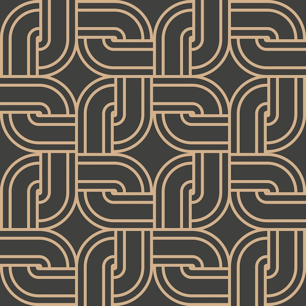 Damask seamless retro pattern background round curve corner cross square frame chain line. Premium Vector