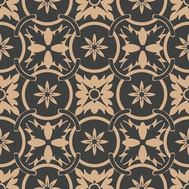 Damask seamless retro pattern background round curve cross frame chain leaf flower. Premium Vector
