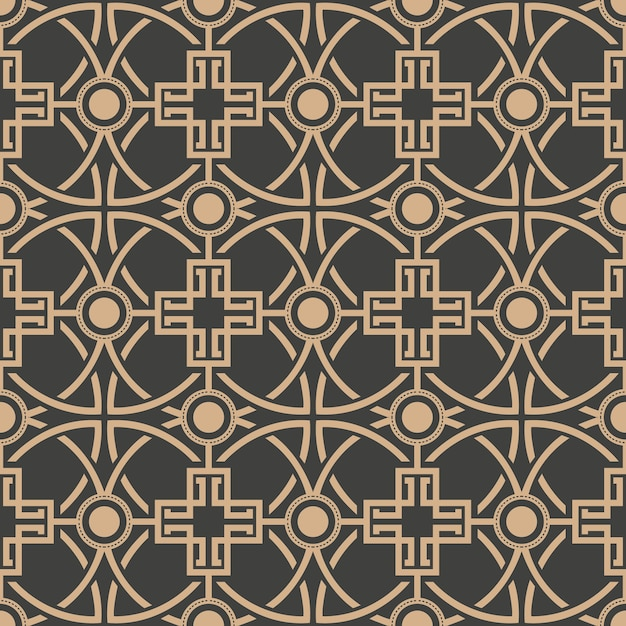 Damask seamless retro pattern background round curve cross frame chain. Premium Vector