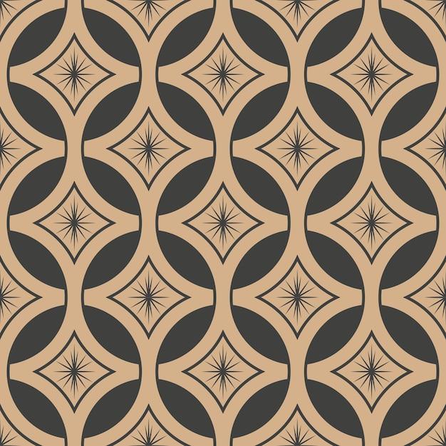 Damask seamless retro pattern background round star cross frame chain flower. Premium Vector