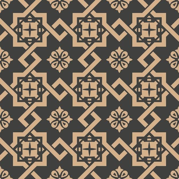 Damask seamless retro pattern background spiral check cross frame chain flower. Premium Vector