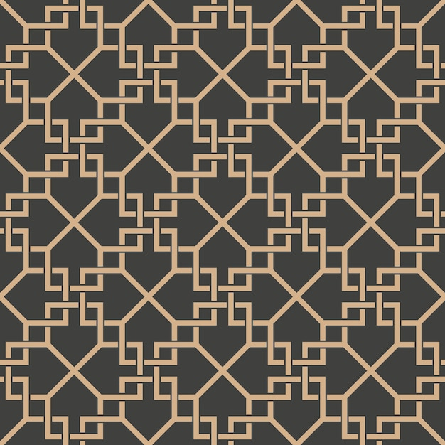 Damask seamless retro pattern background spiral cross check frame chain line. Premium Vector