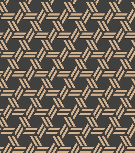 Damask seamless retro pattern background spiral polygon cross frame chain line. Premium Vector