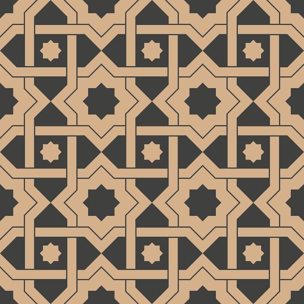 Damask seamless retro pattern background star geometry cross frame chain. Premium Vector