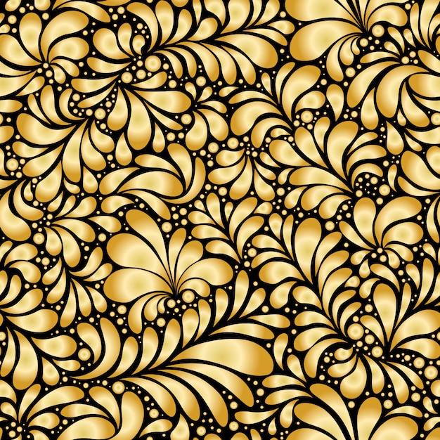 Damask teardrop gold ornament, бесшовный узор Бесплатные векторы