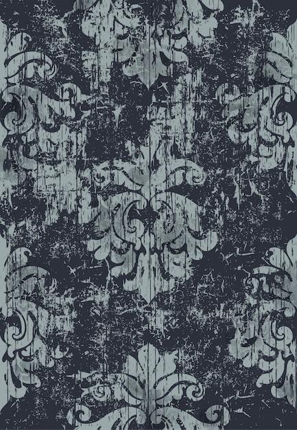 ダマスク織のビンテージパターン。グランジ。暗い色と明るい色 無料ベクター