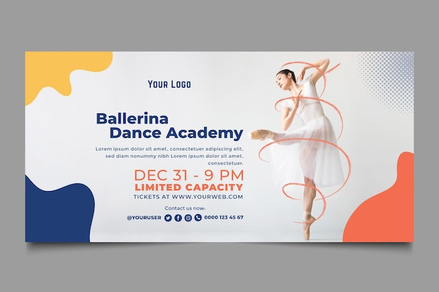 ダンスアカデミーテンプレートバナー 無料ベクター