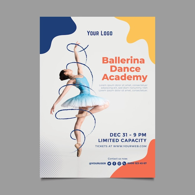 Dance academy template poster Free Vector