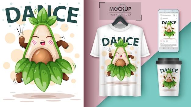 Dance avocado illustration Premium Vector