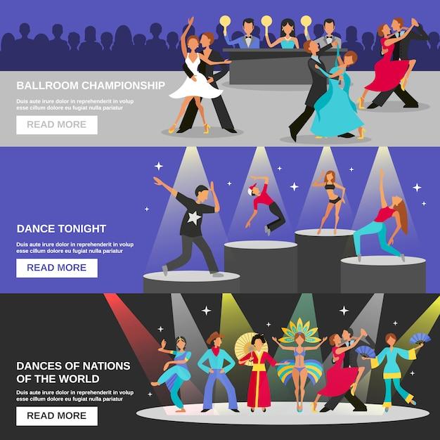 Dance banner flat Бесплатные векторы