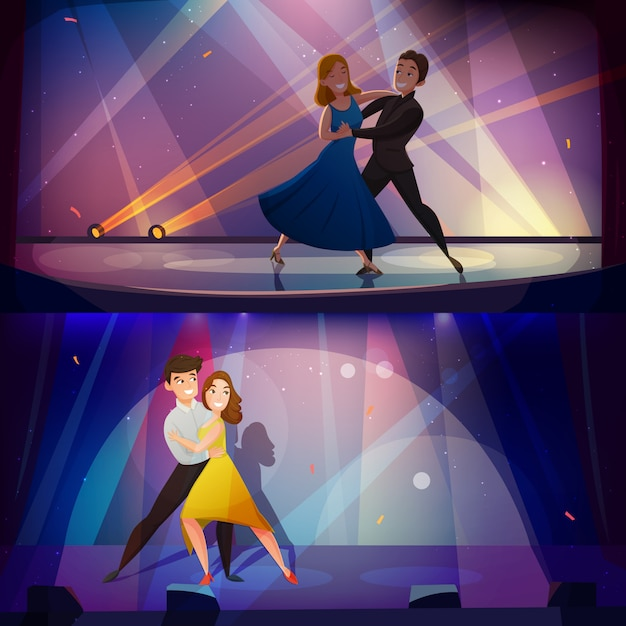 Dance banners set retro cartoon Free Vector