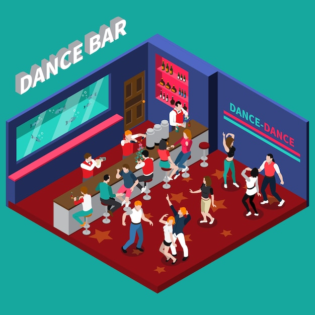 Dance bar isometric composition Free Vector