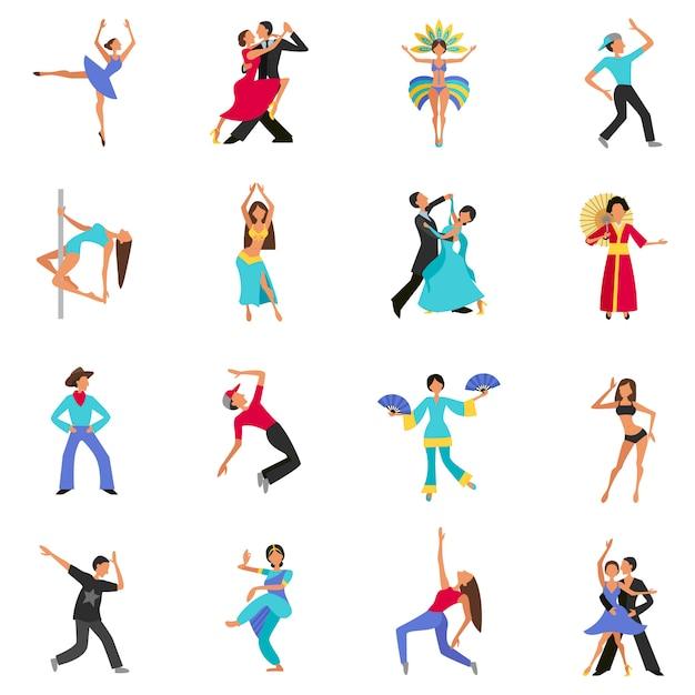 Dance characters set Free Vector