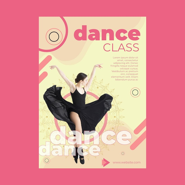 Modello di volantino di classe di danza con foto Vettore gratuito