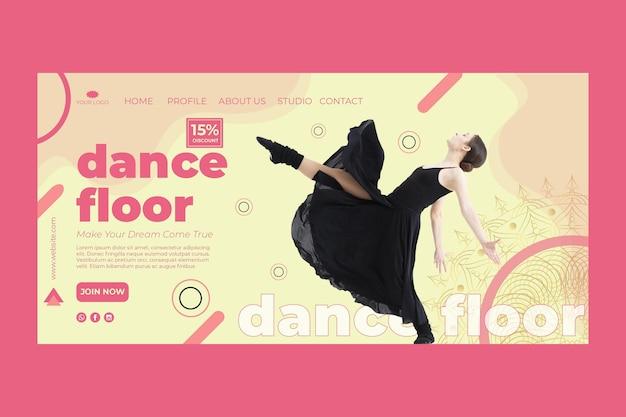 Modello di home page del corso di danza con foto Vettore gratuito