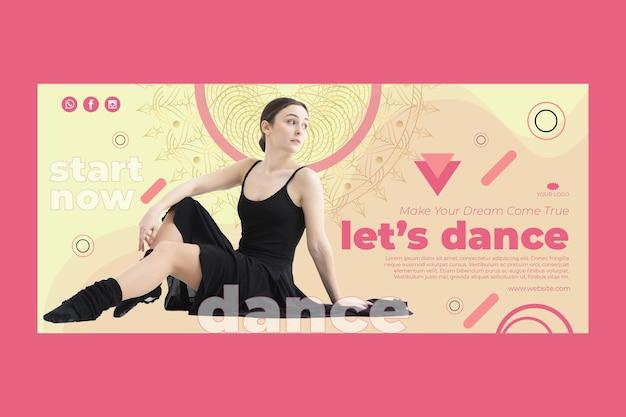 Modello di banner orizzontale di classe di danza con foto Vettore gratuito