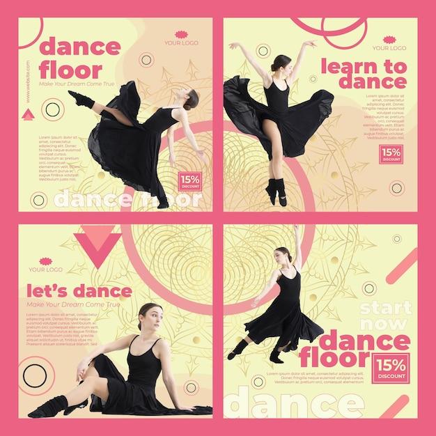 Modello di post instagram di classe di danza con foto Vettore gratuito