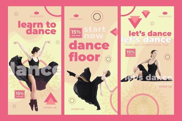 Modello di storie di instagram di classe di danza con foto Vettore gratuito