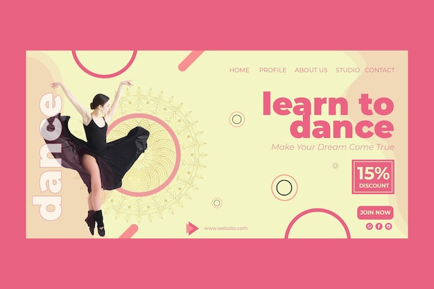 Dance class landing page template with photo Free Vector