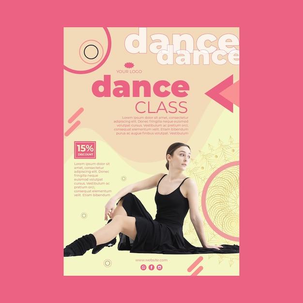 Modello di poster di classe di danza con foto Vettore gratuito