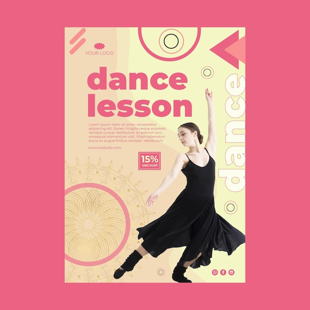 Poster di lezione di danza con foto Vettore gratuito