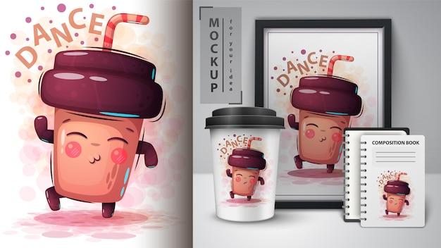 Dance coffee illustration and merchandising Premium Vector