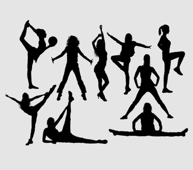 Dance exercise silhouette. good use for symbol, logo, icon, mascot, or any design you want Premium Vector