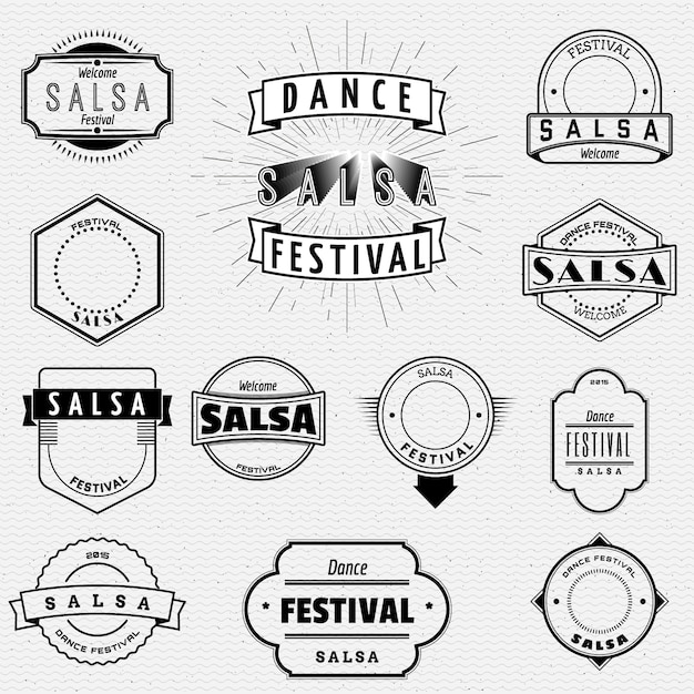Dance festival salsa badges insignia  and labels for any use Premium Vector