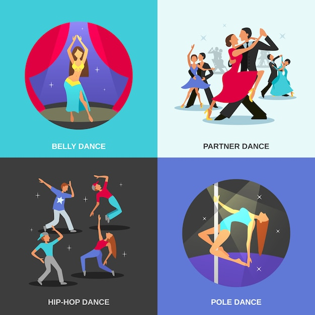 Dance flat concept Free Vector