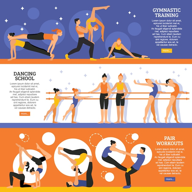 Dance and gymnastic training banners set Free Vector