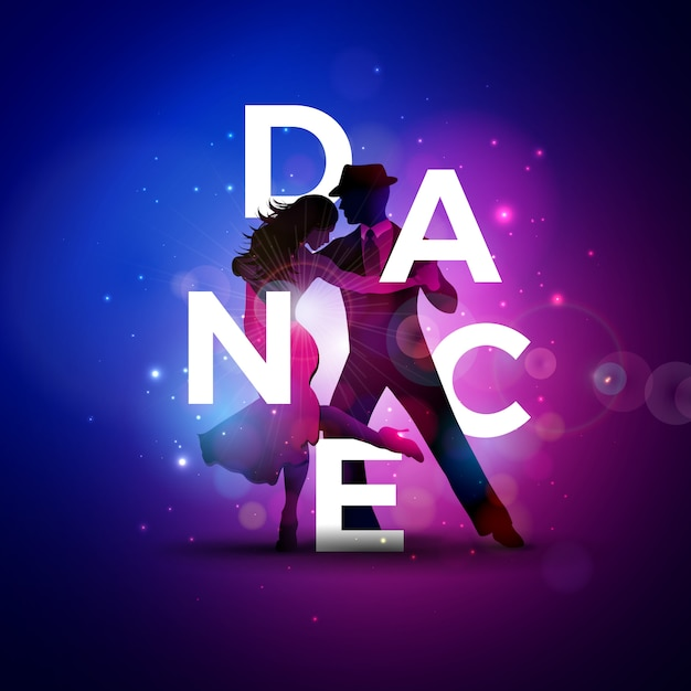 Dance illustration with tango dancing couple and white letter Free Vector