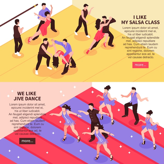 Dance isometric people banners Free Vector