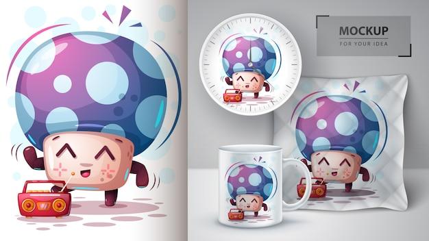 Dance mushroom poster and merchandising Premium Vector