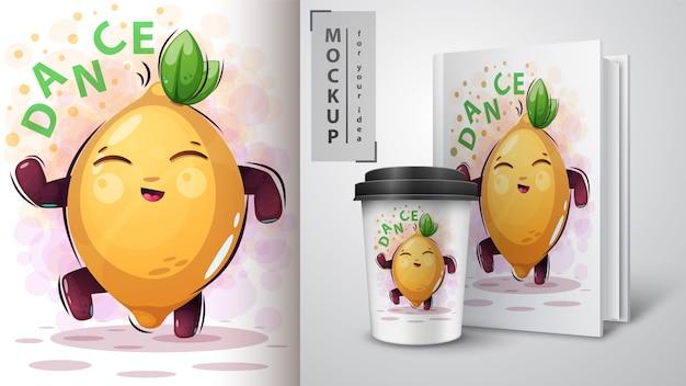 Dance, music lemon - mocup for your idea Premium Vector