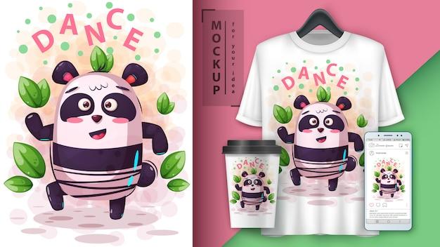 Dance music panda poster and merchandising Premium Vector