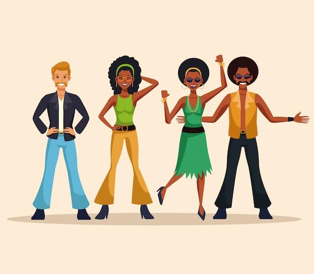 Dance Party Disco People Cartoons Premium Vector